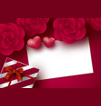 rose flowers and blank white paper card vector image vector image