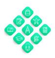 school line icons set college graduation vector image vector image