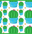 seamless pattern tile cartoon with cactus vector image