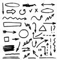 set black hand drawn arrows vector image vector image