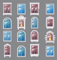 set of different windows element for architecture vector image vector image