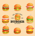set of tasty burger grilled beef and fresh vector image vector image