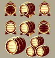 set of vintage wooden barrels in different vector image