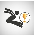 silhouette man long jump athlete trophy vector image