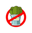stop spinach ban red sign prohibited green leaves vector image vector image
