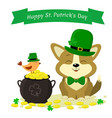 stpatrick s day a cute corgi dog in a green hat vector image