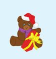 toy bear with a gift for new year vector image vector image