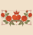 vintage greeting card with red heart and roses vector image vector image