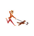 young man running with his dogs cute pets with vector image vector image