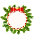 Christmas frame with red bow and fir tree branches vector image