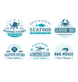 set of vintage seafood barbecue grill logo vector image
