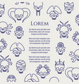 horror poster with line cute skulls vector image