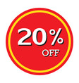 20 off discount price tag isolated vector image vector image
