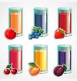 a cartoon set of fruit juices vector image vector image