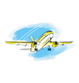 airplane sketch in blue sky aircraft in vector image vector image
