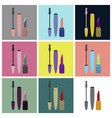assembly flat icons mascara and lipstick vector image vector image