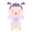 baby girl with pacifier and hairstyle vector image