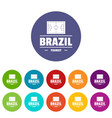 brazil tourist icons set color vector image vector image