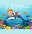 cartoon boy with dolphin swimming vector image vector image