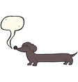 cartoon dachshund with speech bubble vector image vector image
