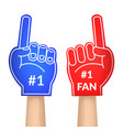 cartoon fan foam color gloves set vector image vector image
