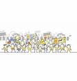 cartoon protesting and walking group people vector image vector image