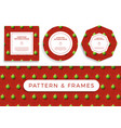 christmas covid19 seamless pattern and frame set vector image vector image
