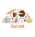 cooking kitchen utensils and ingredients poster vector image