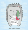 cute monochrome crew cut with cactus in his hands vector image