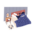 cute young man waking up in morning male vector image vector image
