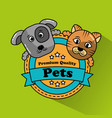dog and cat pet premium quality badge vector image