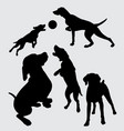 dog playing silhouette vector image vector image