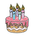 doodle delicious cake with burning candles style vector image