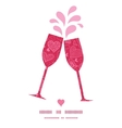 doodle hearts toasting wine glasses silhouettes vector image vector image