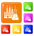 eco factory icons set color vector image vector image