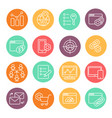 flat line icons set seo website searching vector image vector image