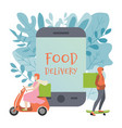 food delivery is written on phone onlain vector image vector image