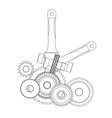 gears and crankshaft on a white vector image vector image