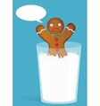 Gingerbread man in milk glass Funny and angry vector image vector image