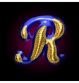 golden and blue letter r vector image vector image