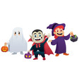 halloween kids on white vector image vector image