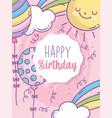 happy birthday balloons decoration rainbow sun vector image