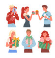 happy people with christmas gifts collection new vector image vector image