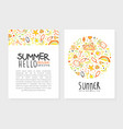 hello summer card template poster banner vector image vector image