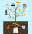 investment in old age infographics with money tree vector image