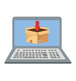 laptop showing box vector image vector image