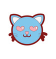line color enamored cat head cute animal vector image vector image