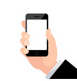 male hand holding phone with blank screen vector image