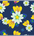 meadow flowers seamless blue background vector image