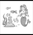 mermaid and fish rocks and seaweed vector image vector image